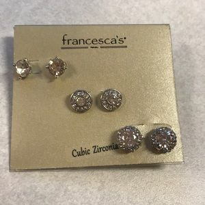 Earrings from Francesca's 3 pairs cubic zirconia