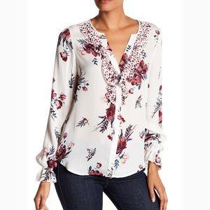 Joie Silk Front Ruffle Floral Print Blouse SZ XS