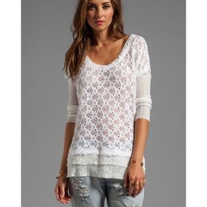 Free People Cream Boxy Textured Sweater