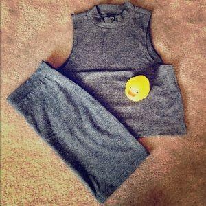 {H&M} Grey Crop and Midi Skirt