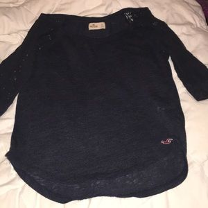 Hollister Blue shirt with lace sleeves