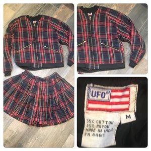 Vintage 90s UFO Brand Plaid Jacket skirt set