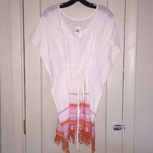 Off-white cover-up with orange and pink details