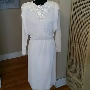 VTG Cream GORGEOUS Lace Sheer 40s Dress!♡