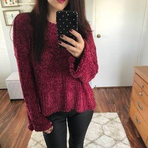 🆕 Daniela Bell Sleeve Chenille Sweater- Wine