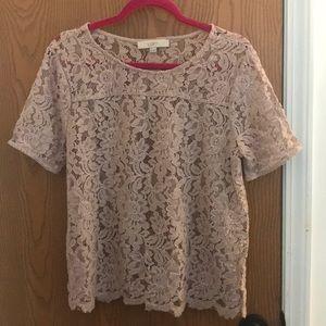 Loft soft pink lace top