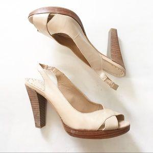 Gianni Bini Nude sling back peep toe heels size 7