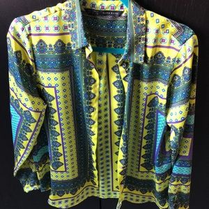 Zara print blouse never worn size Large
