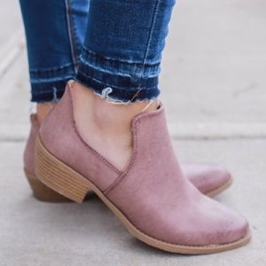 Distressed dusty mauve booties