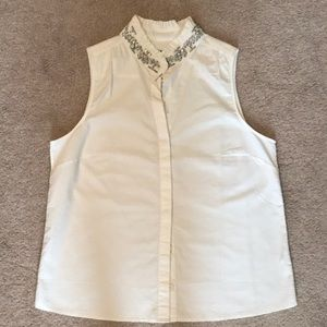 J. Crew Factory Jeweled Collar White Button Up