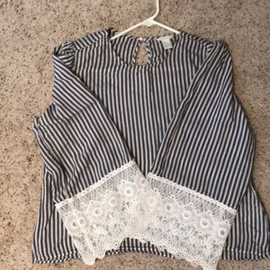 H&M Striped Top with Lace Sleeves