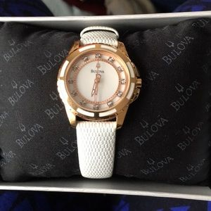 Bulova diamond rose gold and white leather watch