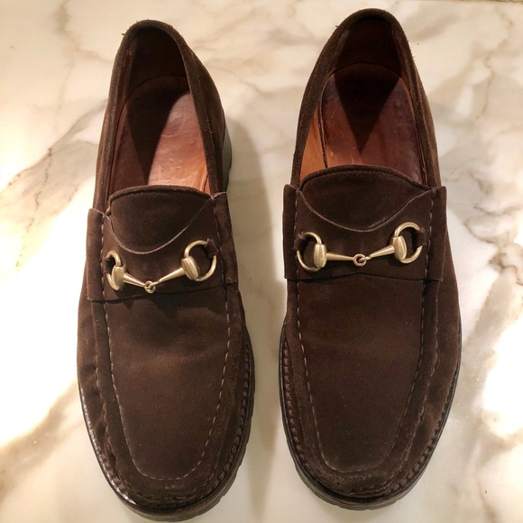 c8cf01fca Gucci Shoes | Mens Dark Brown Suede Loafers 44 105 | Poshmark