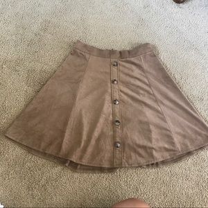 Faux Suede Circle Skirt