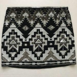 Black and white sequin mini skirt