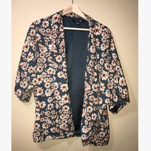 Forever 21 Flowered Kimono Style Oversized Blazer