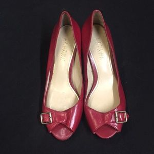 Red Lauren By Ralph Lauren 2in Open Toe Heels.