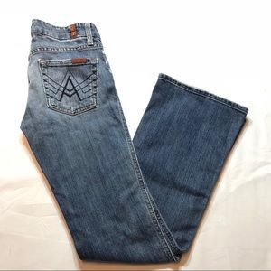 7 For All Mankind Blue Denim A Pocket Flare Jeans