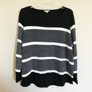 westbound Striped Sweater Plus Size 2X Black White
