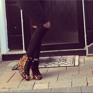 Leopard wedge boots