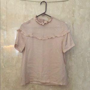 Pink silky ruffle tee h&m size 6