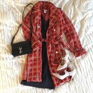 Red plaid double breasted cost