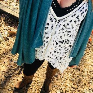 Free People lace/crochet top.