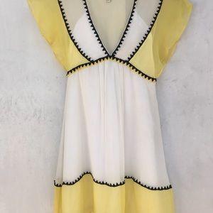 Chloe silk yellow white dress