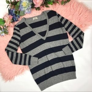 Madewell Wallace Striped V Neck Sweater