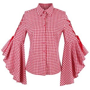 Tops - Red Gingham Plaid Ruffle Flare Tie Sleeve Top