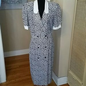 VTG Blk & White Liz Roberts Office Dress!♡