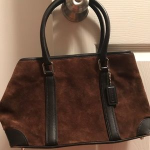 Coach suede and leather tripped satchel