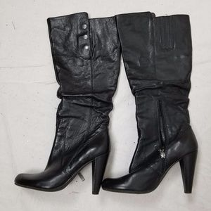HIGH HEEL GUESS LEATHER BOOTS SIZE 8.5