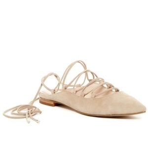 Marc Fisher Wrap Around Suede Lace Up Flat NEW