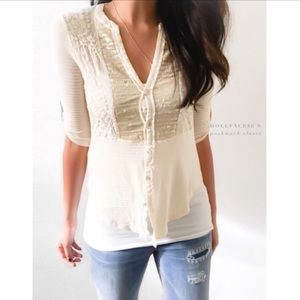 Anthropologie Tiny Sequin Button Down Cream Top