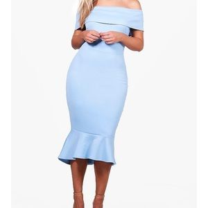 Plus Anita Off The Shoulder Peplum Midi Dress