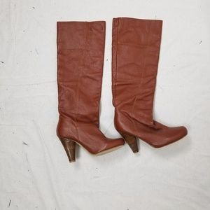 RESTRICTED BROWN LEATHER 3 IN HEEL BOOTS
