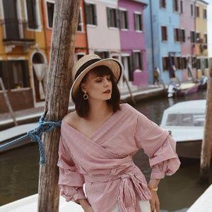 Zara Red & White Stripe  Puffy Sleeves Wrap Top