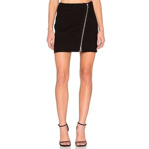 Joie Tyree Mini Skirt Caviar Black Wool Zipper