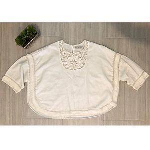 Zara White Embroidered Blouse