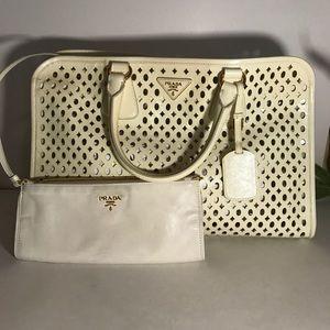 PRADA Saffiano Leather Handbag w/ strap White