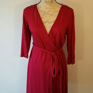 Banana Republic Wrap Around Dress Red Burgundy
