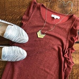 Madewell Ruffle red metallic shimmer Top