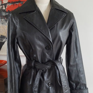 Wilsons Black Leather Belted Jacket Thinsulate S