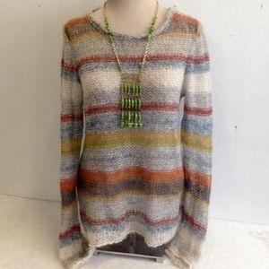 Moth Wool Blend Loose Weave Striped Sweater