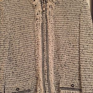 ST. JOHN Marie Gray tweed jacket SZ 6 Black white