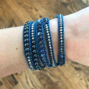 Chan Luu Blue Beaded & Leather Wrap Bracelet