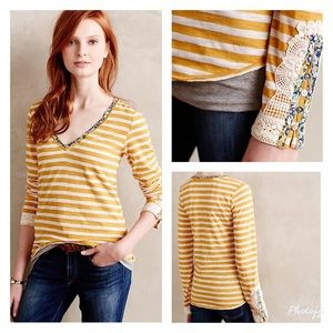 Anthropologie Little Yellow Button Lata LS Tee