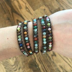 Chan Luu Beaded & Leather Wrap Bracelet