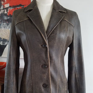 Wilsons Distressed Brown Leather Jacket Small